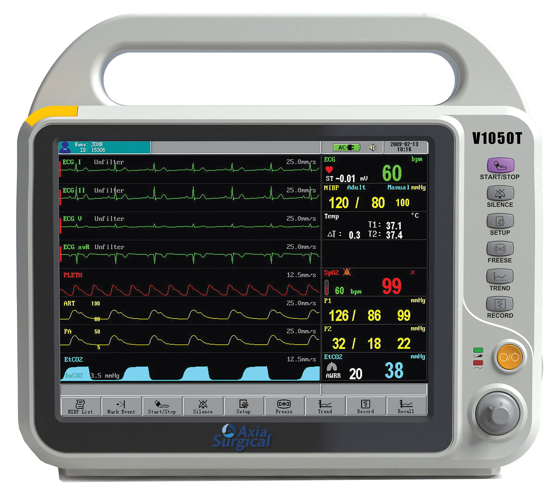 Axia V1050t Features And Inuitive Touch Screen Patient Monitor